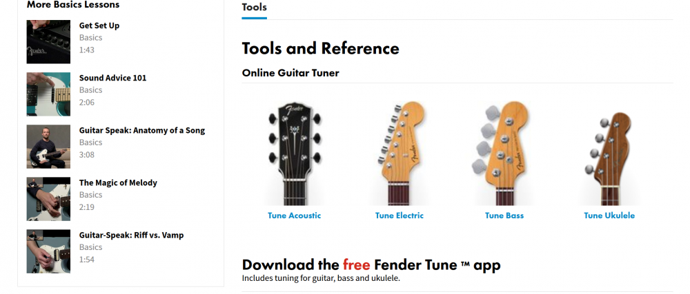Fender Play Tools and References