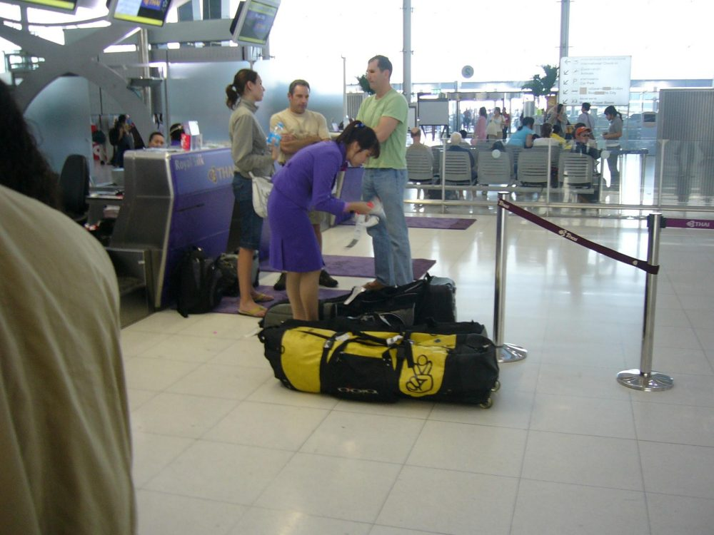 checking luggage airport